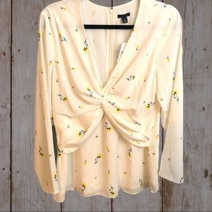 Ann Taylor White Blouse With Flowers Size 10